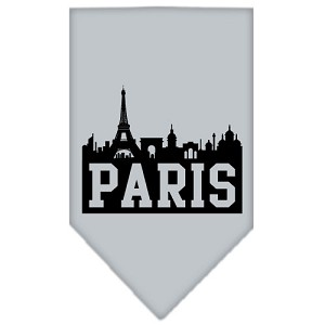 Paris Skyline Screen Print Bandana Grey Large